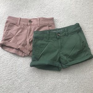 Two pair American Eagle girls shorts in size 00.